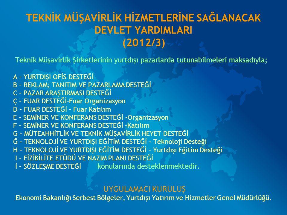 TEKNİK MÜŞAVİRLİK HİZMETLERİNE SAĞLANACAK DEVLET YARDIMLARI (2012/3) Teknik Müşavirlik Şirketlerinin yurtdışı pazarlarda tutunabilmeleri maksadıyla; A