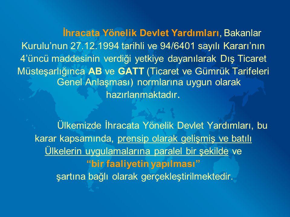 İhracata Yönelik Devlet Yardımları, Bakanlar Kurulu'nun 27.12.1994 tarihli ve 94/6401 sayılı Kararı'nın 4'üncü maddesinin verdiği yetkiye dayanılarak
