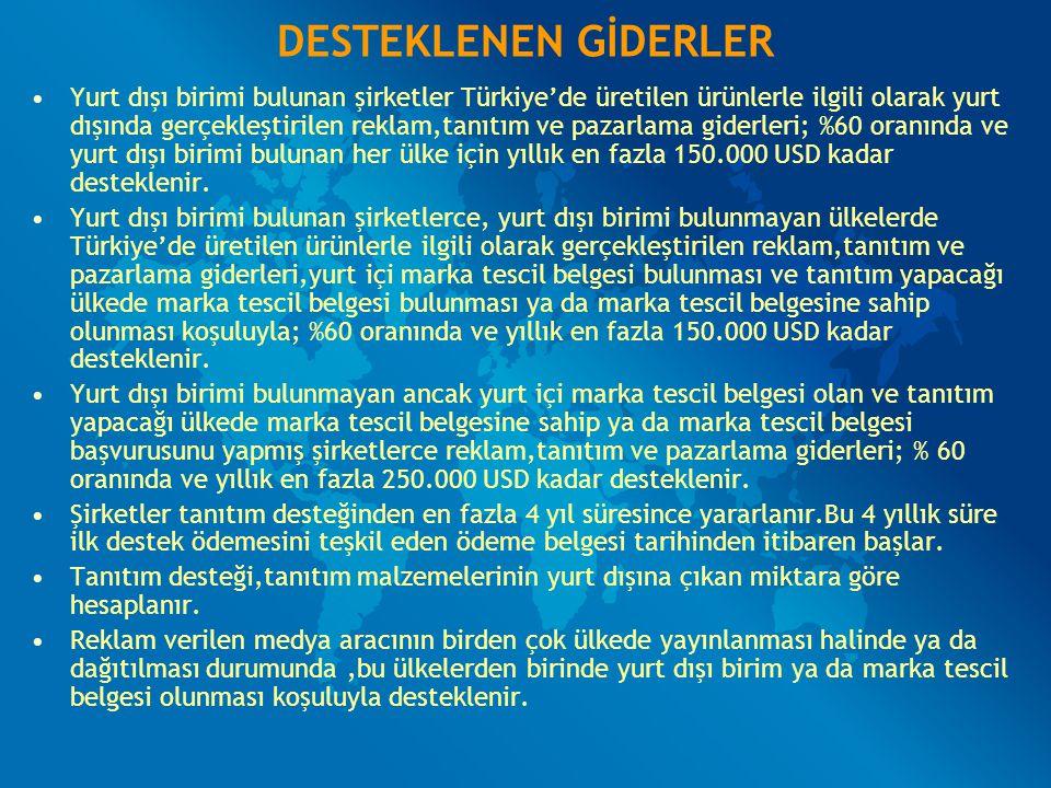 DESTEKLENEN GİDERLER Yurt dışı birimi bulunan şirketler Türkiye'de üretilen ürünlerle ilgili olarak yurt dışında gerçekleştirilen reklam,tanıtım ve pa