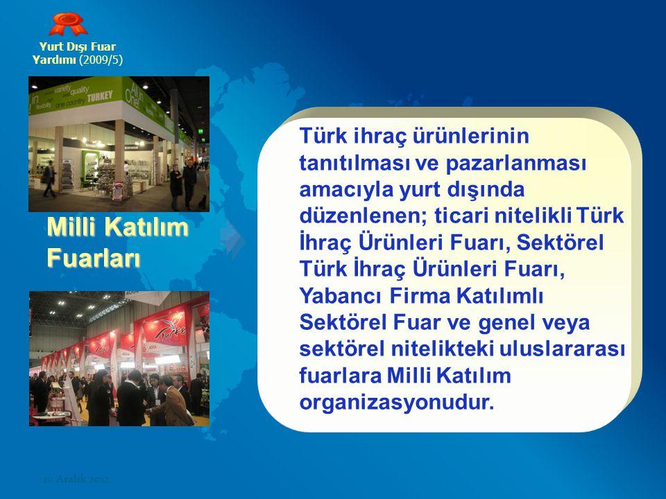 Yurt Dışı Fuar Yardımı (2009/5) Milli Katılım Fuarları Türk ihraç ürünlerinin tanıtılması ve pazarlanması amacıyla yurt dışında düzenlenen; ticari ni