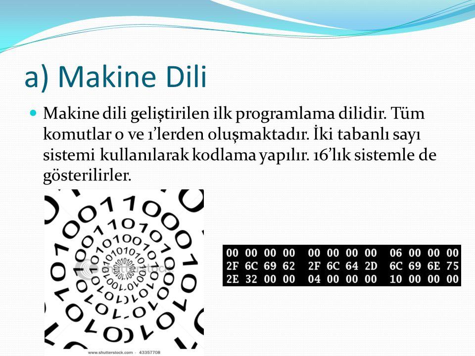a) Makine Dili Makine dili geliştirilen ilk programlama dilidir. Tüm komutlar 0 ve 1'lerden oluşmaktadır. İki tabanlı sayı sistemi kullanılarak kodlam
