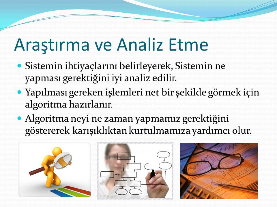 Araştırma ve Analiz Etme Sistemin ihtiyaçlarını belirleyerek, Sistemin ne yapması gerektiğini iyi analiz edilir. Yapılması gereken işlemleri net bir ş