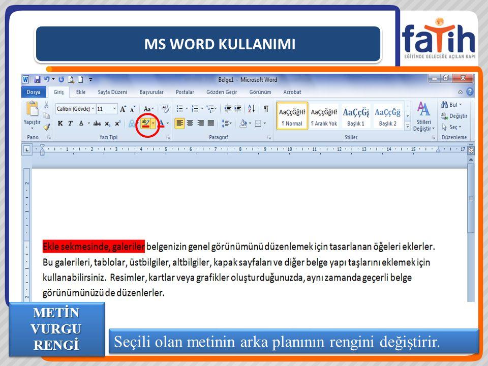 MS WORD KULLANIMI Seçili olan metinin arka planının rengini değiştirir. METİN VURGU RENGİ
