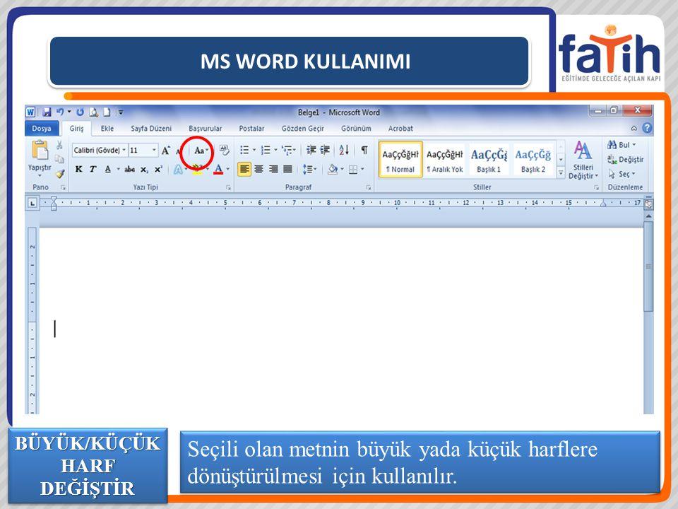 MS WORD KULLANIMI Seçili olan metnin büyük yada küçük harflere dönüştürülmesi için kullanılır. BÜYÜK/KÜÇÜK HARF DEĞİŞTİR