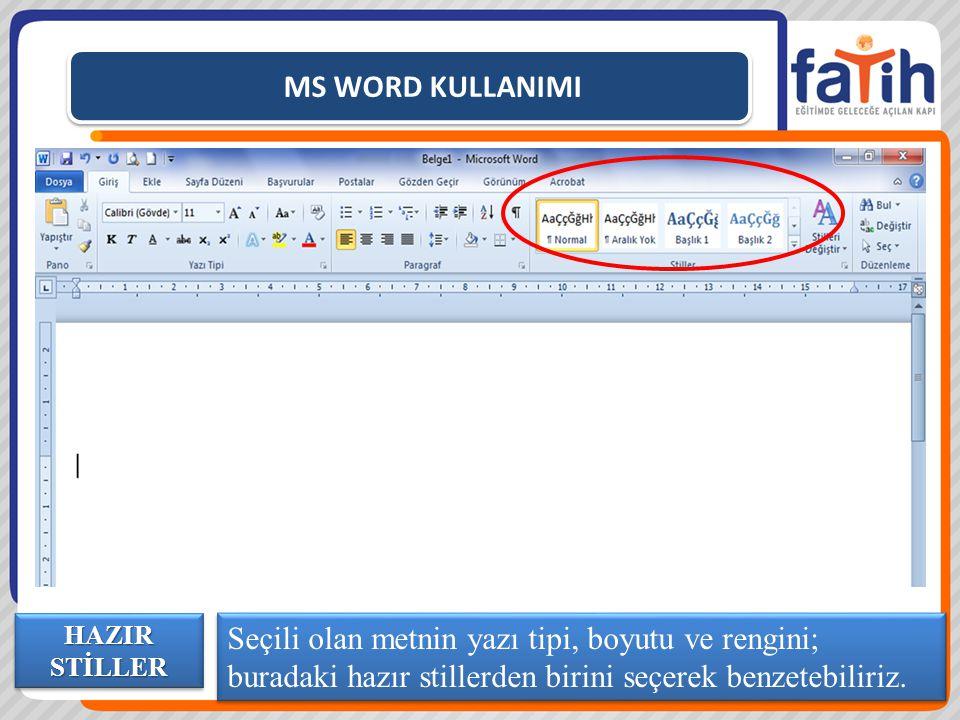 MS WORD KULLANIMI Seçili olan metnin yazı tipi, boyutu ve rengini; buradaki hazır stillerden birini seçerek benzetebiliriz.