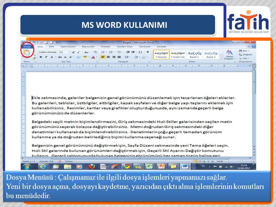 MS WORD KULLANIMI Dosya Menüsü : Çalışmamız ile ilgili dosya işlemleri yapmamızı sağlar.