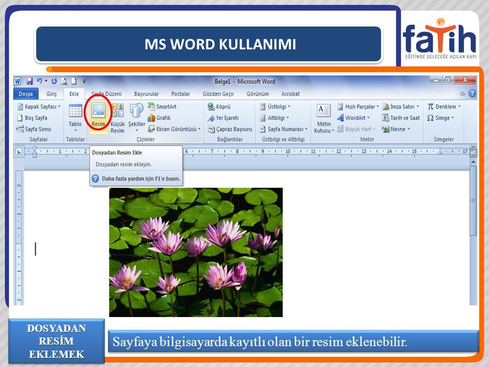MS WORD KULLANIMI Sayfaya bilgisayarda kayıtlı olan bir resim eklenebilir. DOSYADAN RESİM EKLEMEK