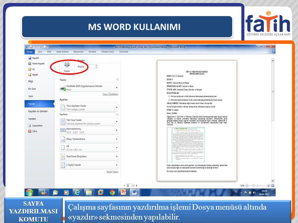 MS WORD KULLANIMI Çalışma sayfasının yazdırılma işlemi Dosya menüsü altında «yazdır» sekmesinden yapılabilir. SAYFA YAZDIRILMASI KOMUTU