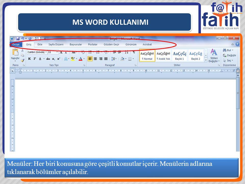 MS WORD KULLANIMI Menüler: Her biri konusuna göre çeşitli komutlar içerir. Menülerin adlarına tıklanarak bölümler açılabilir.