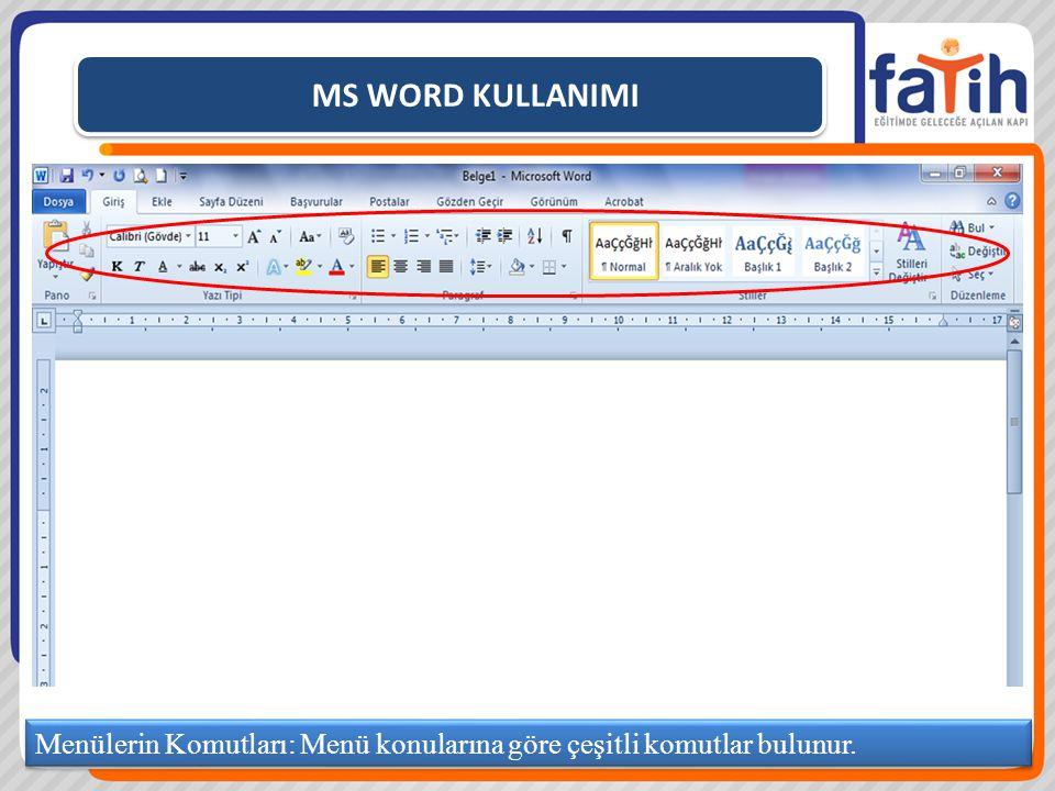 MS WORD KULLANIMI Bir nesneyi bir yerden başka bir yere taşımak için KES komutu kullanılır.