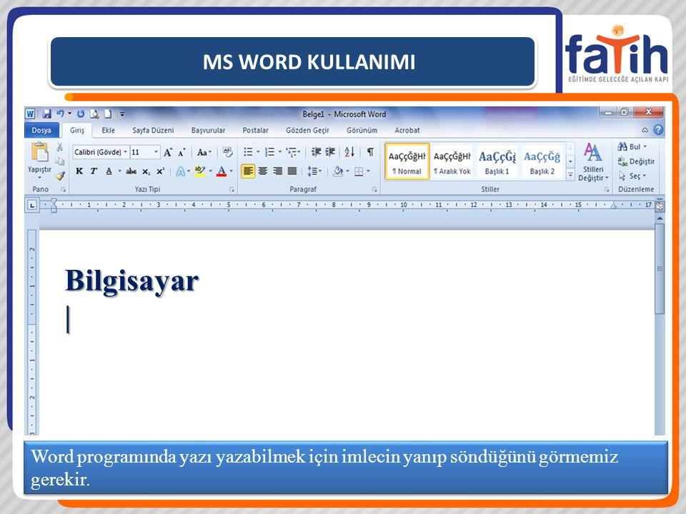 MS WORD KULLANIMI Word programında yazı yazabilmek için imlecin yanıp söndüğünü görmemiz gerekir.