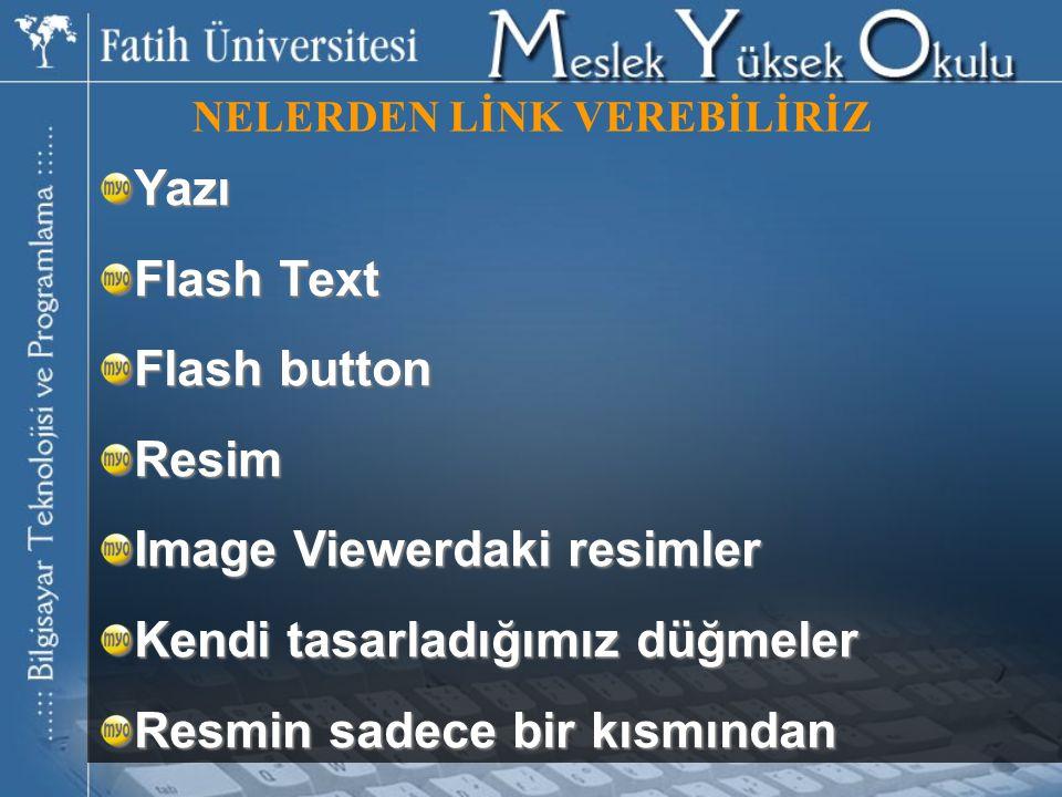 NELERDEN LİNK VEREBİLİRİZ Yazı Flash Text Flash button Resim Image Viewerdaki resimler Kendi tasarladığımız düğmeler Resmin sadece bir kısmından
