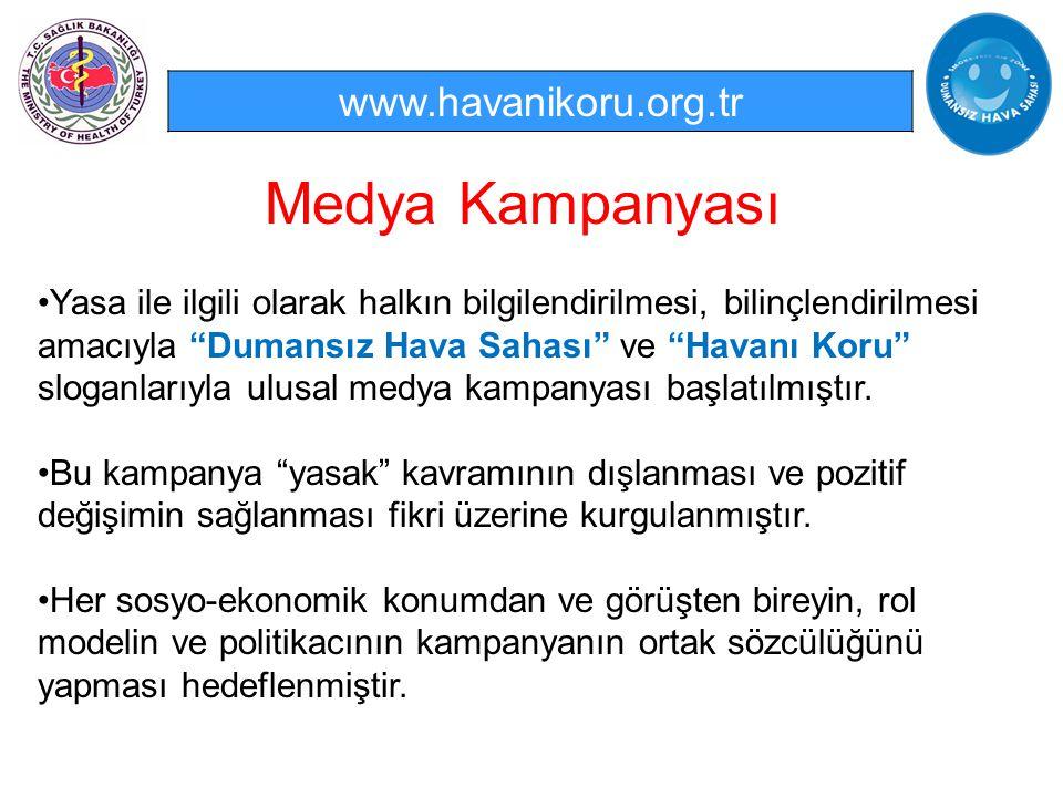 """Medya Kampanyası www.havanikoru.org.tr Yasa ile ilgili olarak halkın bilgilendirilmesi, bilinçlendirilmesi amacıyla """"Dumansız Hava Sahası"""" ve """"Havanı"""