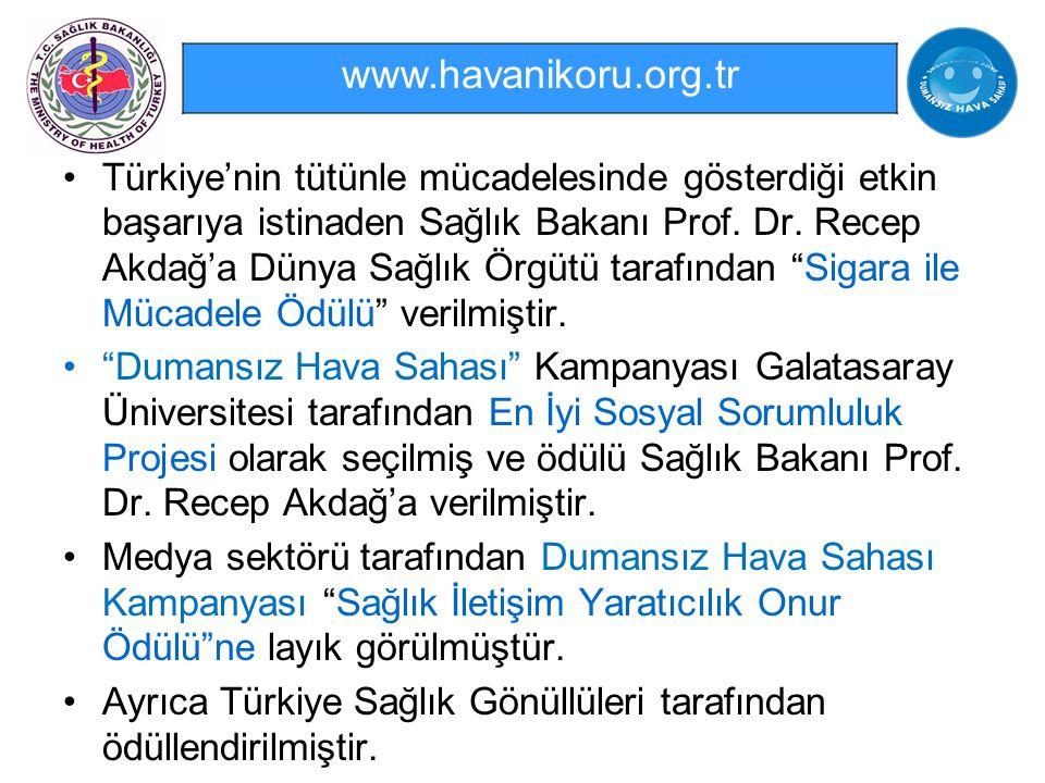 """Türkiye'nin tütünle mücadelesinde gösterdiği etkin başarıya istinaden Sağlık Bakanı Prof. Dr. Recep Akdağ'a Dünya Sağlık Örgütü tarafından """"Sigara ile"""
