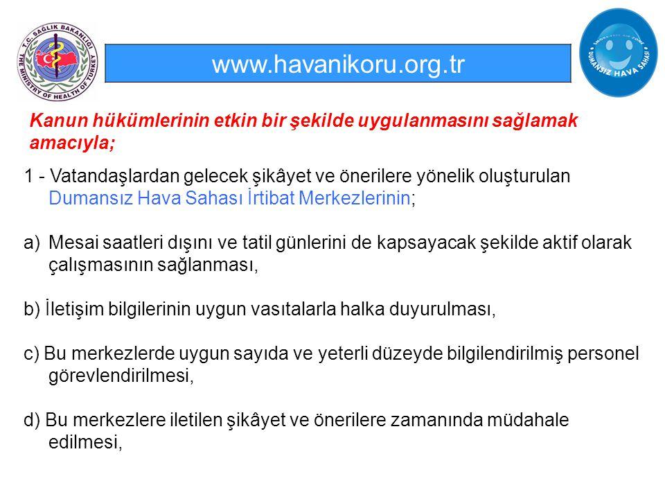 www.havanikoru.org.tr 1 - Vatandaşlardan gelecek şikâyet ve önerilere yönelik oluşturulan Dumansız Hava Sahası İrtibat Merkezlerinin; a)Mesai saatleri