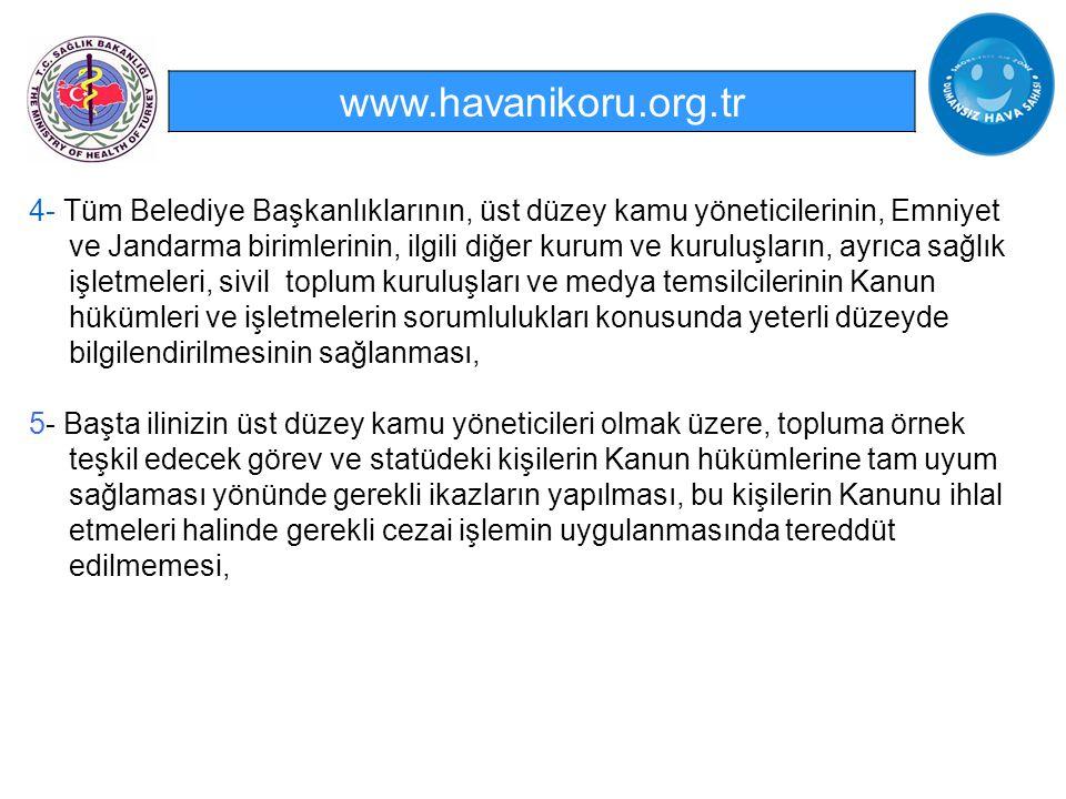 www.havanikoru.org.tr 4- Tüm Belediye Başkanlıklarının, üst düzey kamu yöneticilerinin, Emniyet ve Jandarma birimlerinin, ilgili diğer kurum ve kurulu