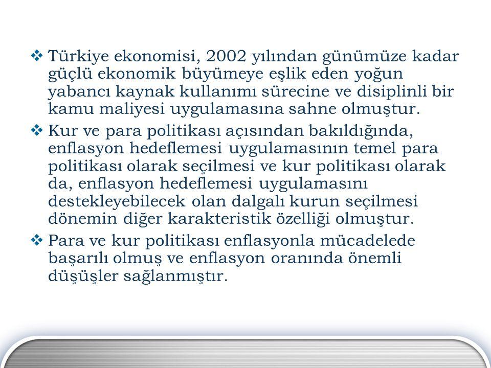  Türkiye ekonomisi, 2002 yılından günümüze kadar güçlü ekonomik büyümeye eşlik eden yoğun yabancı kaynak kullanımı sürecine ve disiplinli bir kamu ma