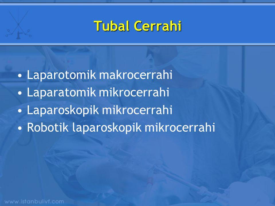 Tubal Cerrahi Laparotomik makrocerrahi Laparatomik mikrocerrahi Laparoskopik mikrocerrahi Robotik laparoskopik mikrocerrahi