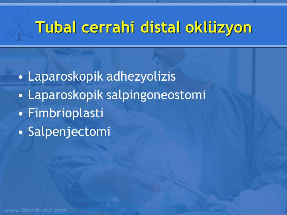 Tubal cerrahi distal oklüzyon Laparoskopik adhezyolizis Laparoskopik salpingoneostomi Fimbrioplasti Salpenjectomi