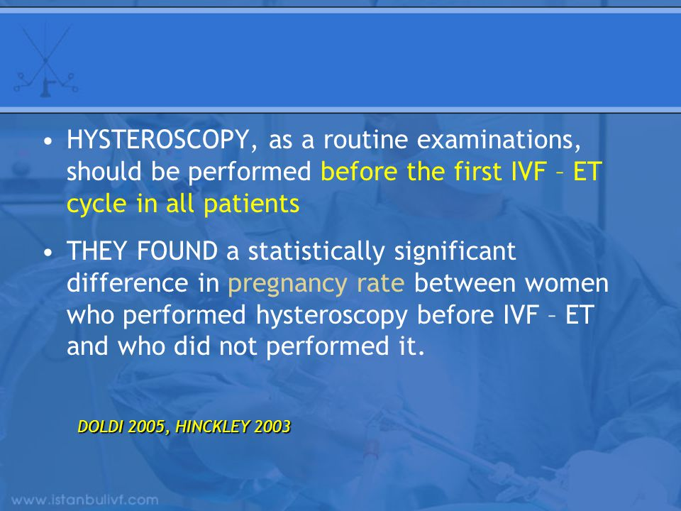 HYSTEROSCOPY, as a routine examinations, should be performed before the first IVF – ET cycle in all patients THEY FOUND a statistically significant di