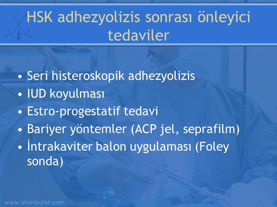 HSK adhezyolizis sonrası önleyici tedaviler Seri histeroskopik adhezyolizis IUD koyulması Estro-progestatif tedavi Bariyer yöntemler (ACP jel, seprafilm) İntrakaviter balon uygulaması (Foley sonda)