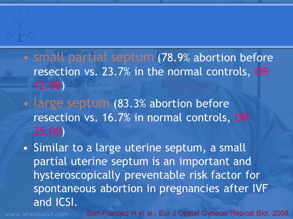 small partial septum (78.9% abortion before resection vs. 23.7% in the normal controls, OR 12.08) large septum (83.3% abortion before resection vs. 16