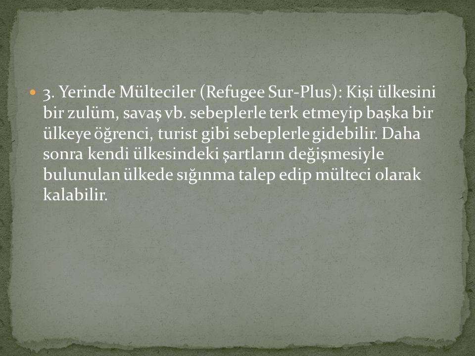 3. Yerinde Mülteciler (Refugee Sur-Plus): Kişi ülkesini bir zulüm, savaş vb. sebeplerle terk etmeyip başka bir ülkeye öğrenci, turist gibi sebeplerle