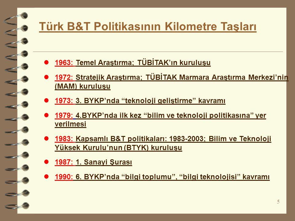 l1993: B&T politikası revizyonu:1993-2003; Öncelikli alanlar, Ulusal İnovasyon sistemi l1995: Endüstriyel Ar-Ge Destek Programı ve 2.