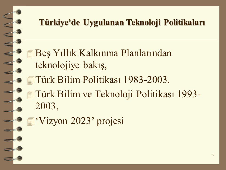 4 Beş Yıllık Kalkınma Planlarından teknolojiye bakış, 4 Türk Bilim Politikası 1983-2003, 4 Türk Bilim ve Teknoloji Politikası 1993- 2003, 4 'Vizyon 20