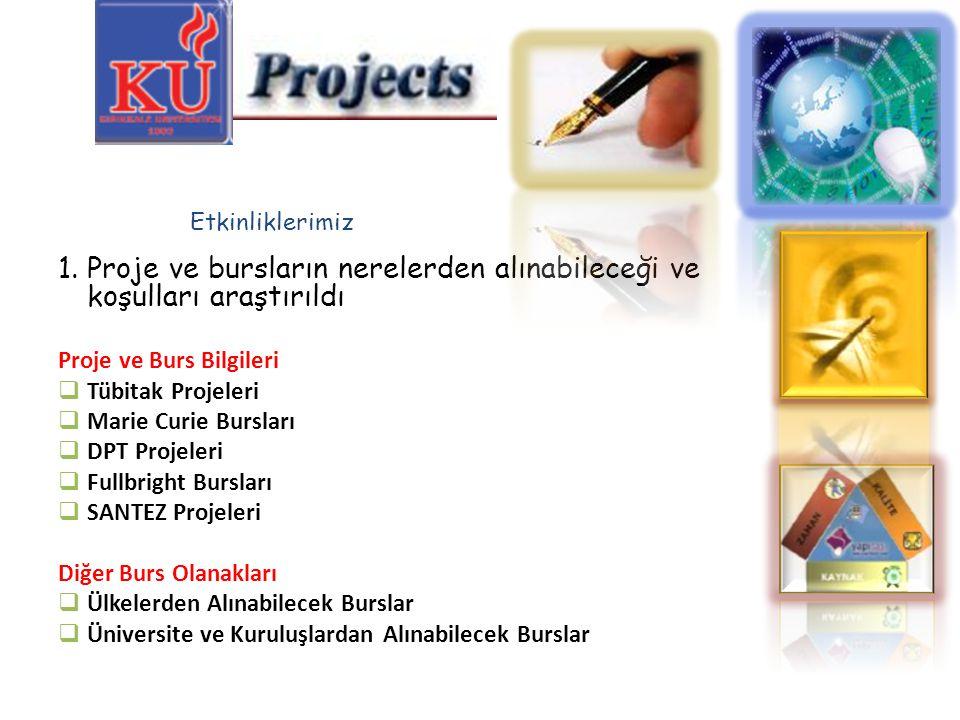 1.Proje ve bursların nerelerden alınabileceği ve koşulları araştırıldı Proje ve Burs Bilgileri  Tübitak Projeleri  Marie Curie Bursları  DPT Projel