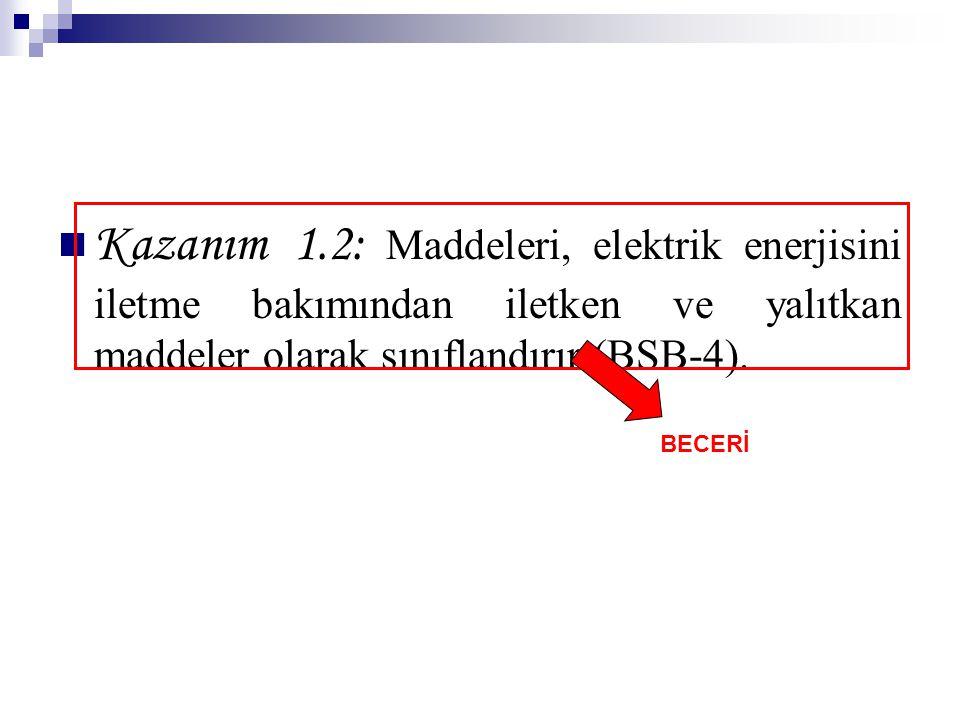 Kazanım 1.2: Maddeleri, elektrik enerjisini iletme bakımından iletken ve yalıtkan maddeler olarak sınıflandırır (BSB-4). BECERİ