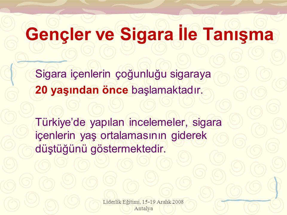 Liderlik Eğitimi, 15-19 Aralık 2008 Antalya Gençler ve Sigara İle Tanışma Sigara içenlerin çoğunluğu sigaraya 20 yaşından önce başlamaktadır. Türkiye'