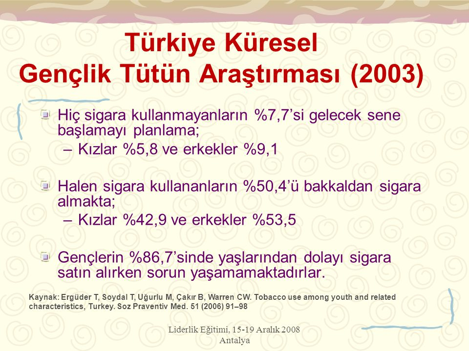 Liderlik Eğitimi, 15-19 Aralık 2008 Antalya Türkiye Küresel Gençlik Tütün Araştırması (2003) Hiç sigara kullanmayanların %7,7'si gelecek sene başlamayı planlama; –Kızlar %5,8 ve erkekler %9,1 Halen sigara kullananların %50,4'ü bakkaldan sigara almakta; –Kızlar %42,9 ve erkekler %53,5 Gençlerin %86,7'sinde yaşlarından dolayı sigara satın alırken sorun yaşamamaktadırlar.