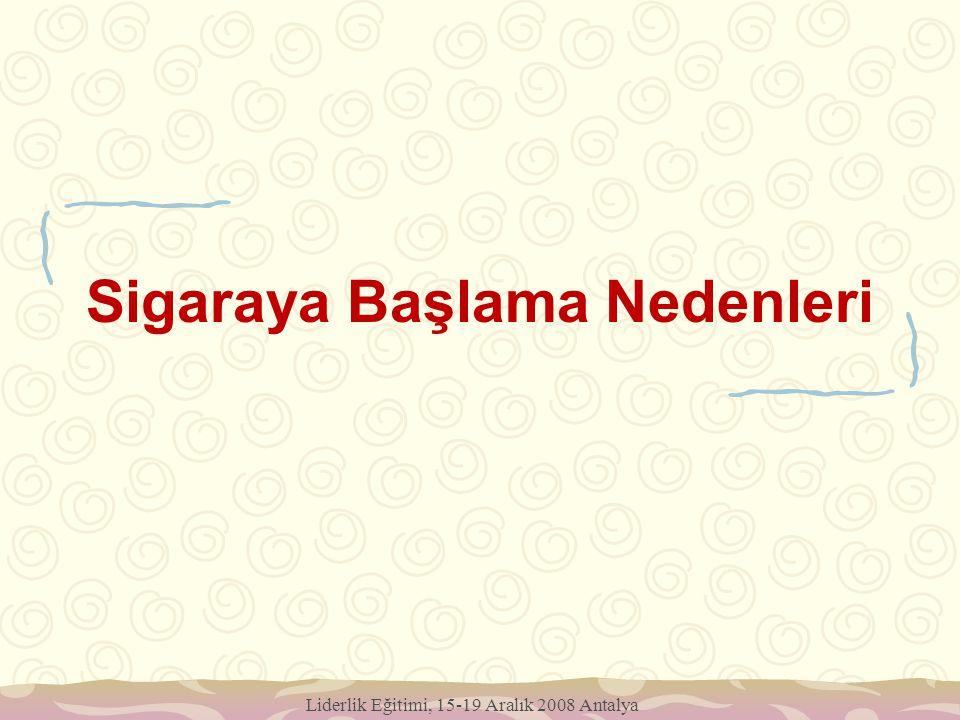 Liderlik Eğitimi, 15-19 Aralık 2008 Antalya Sigaraya Başlama Nedenleri