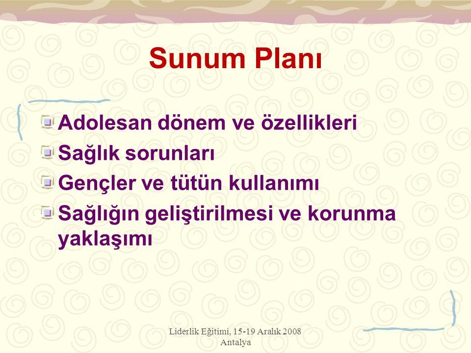 Liderlik Eğitimi, 15-19 Aralık 2008 Antalya Sunum Planı Adolesan dönem ve özellikleri Sağlık sorunları Gençler ve tütün kullanımı Sağlığın geliştirilmesi ve korunma yaklaşımı