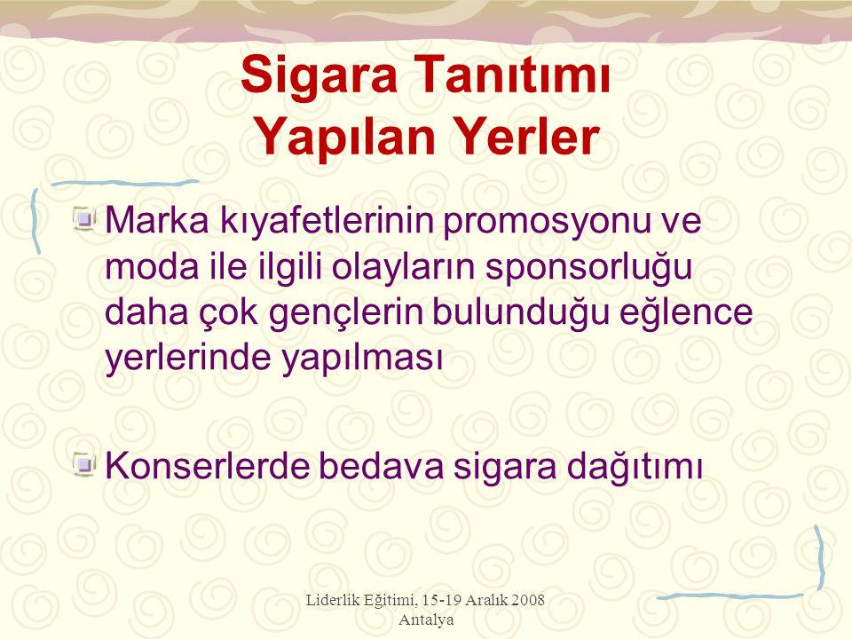 Liderlik Eğitimi, 15-19 Aralık 2008 Antalya Sigara Tanıtımı Yapılan Yerler Marka kıyafetlerinin promosyonu ve moda ile ilgili olayların sponsorluğu da
