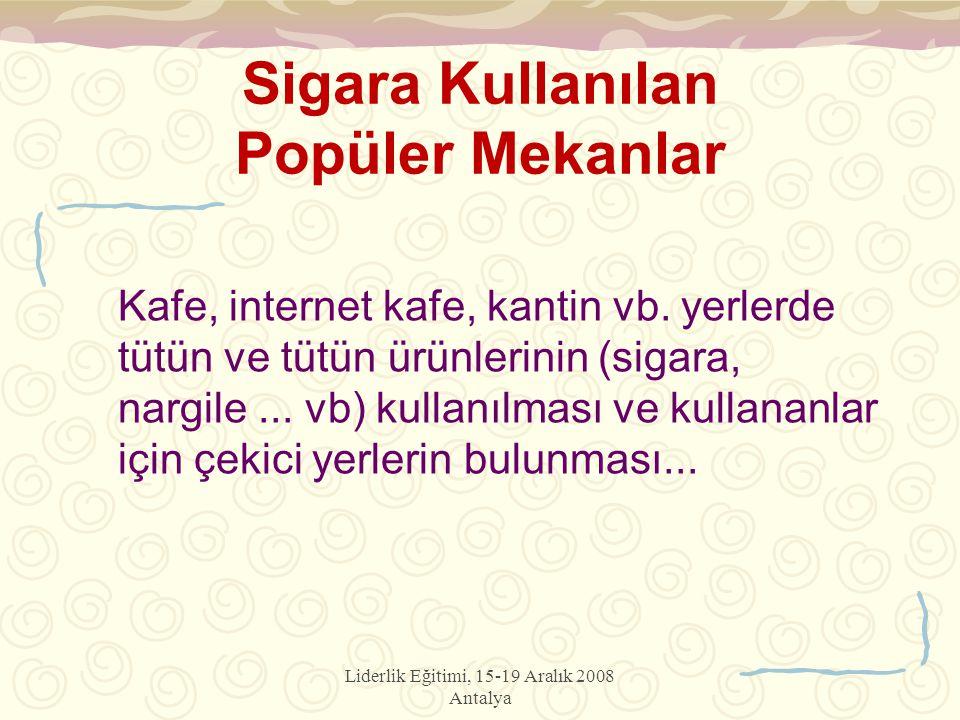 Liderlik Eğitimi, 15-19 Aralık 2008 Antalya Kafe, internet kafe, kantin vb. yerlerde tütün ve tütün ürünlerinin (sigara, nargile... vb) kullanılması v