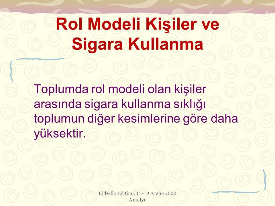 Liderlik Eğitimi, 15-19 Aralık 2008 Antalya Rol Modeli Kişiler ve Sigara Kullanma Toplumda rol modeli olan kişiler arasında sigara kullanma sıklığı toplumun diğer kesimlerine göre daha yüksektir.