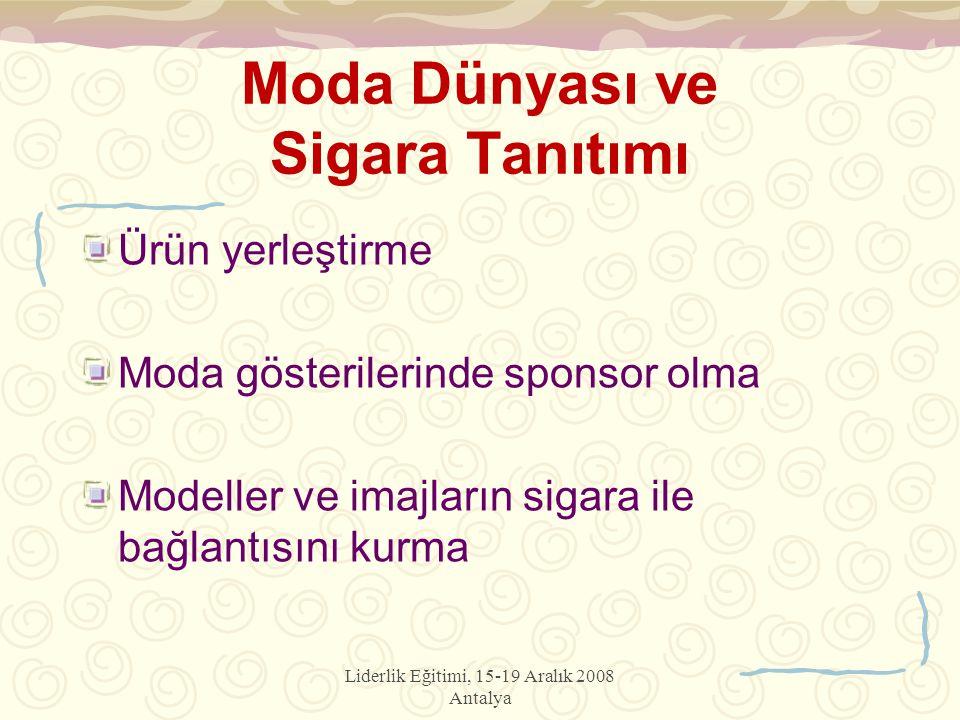 Liderlik Eğitimi, 15-19 Aralık 2008 Antalya Moda Dünyası ve Sigara Tanıtımı Ürün yerleştirme Moda gösterilerinde sponsor olma Modeller ve imajların sigara ile bağlantısını kurma