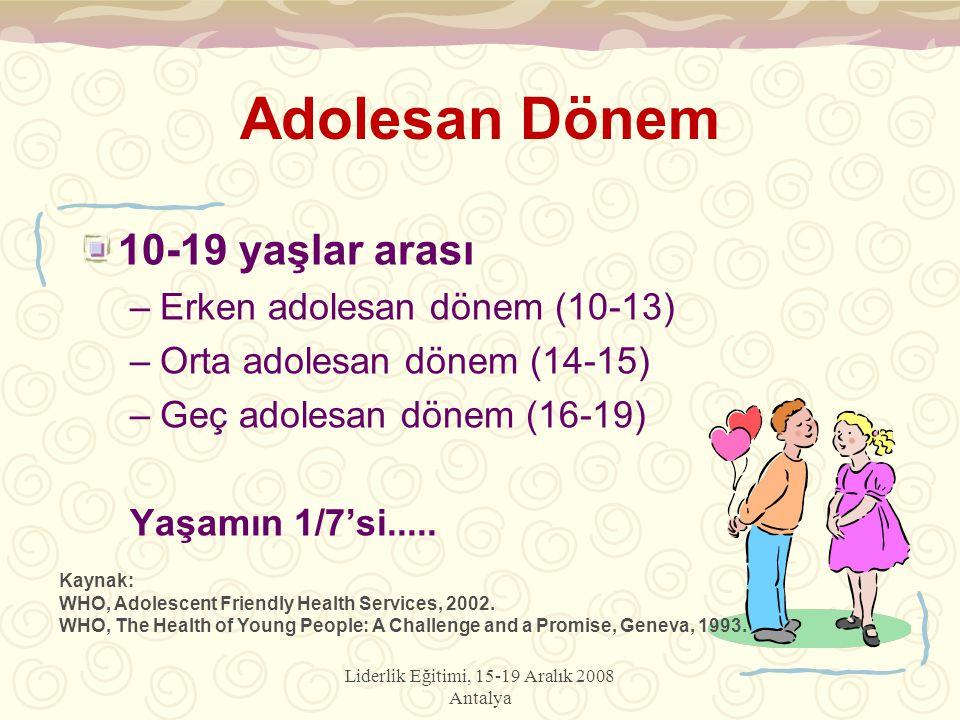Liderlik Eğitimi, 15-19 Aralık 2008 Antalya Adolesan Dönem 10-19 yaşlar arası –Erken adolesan dönem (10-13) –Orta adolesan dönem (14-15) –Geç adolesan