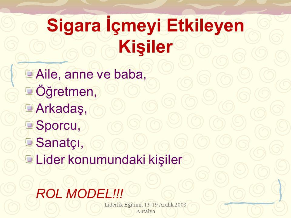 Liderlik Eğitimi, 15-19 Aralık 2008 Antalya Sigara İçmeyi Etkileyen Kişiler Aile, anne ve baba, Öğretmen, Arkadaş, Sporcu, Sanatçı, Lider konumundaki kişiler ROL MODEL!!!
