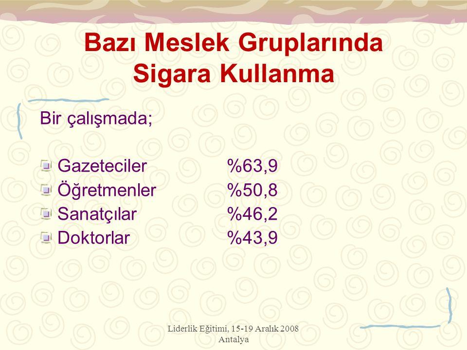Liderlik Eğitimi, 15-19 Aralık 2008 Antalya Bazı Meslek Gruplarında Sigara Kullanma Bir çalışmada; Gazeteciler%63,9 Öğretmenler%50,8 Sanatçılar%46,2 Doktorlar%43,9