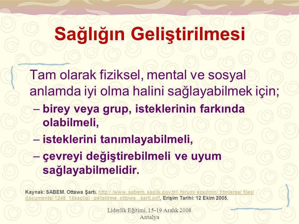 Liderlik Eğitimi, 15-19 Aralık 2008 Antalya Sağlığın Geliştirilmesi Tam olarak fiziksel, mental ve sosyal anlamda iyi olma halini sağlayabilmek için;