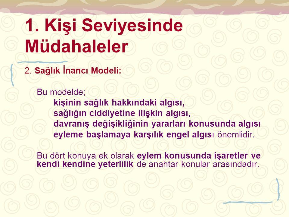 1. Kişi Seviyesinde Müdahaleler 2. Sağlık İnancı Modeli: Bu modelde; kişinin sağlık hakkındaki algısı, sağlığın ciddiyetine ilişkin algısı, davranış d