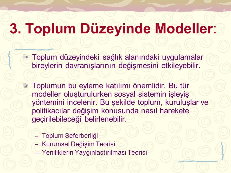 3. Toplum Düzeyinde Modeller: Toplum düzeyindeki sağlık alanındaki uygulamalar bireylerin davranışlarının değişmesini etkileyebilir. Toplumun bu eylem
