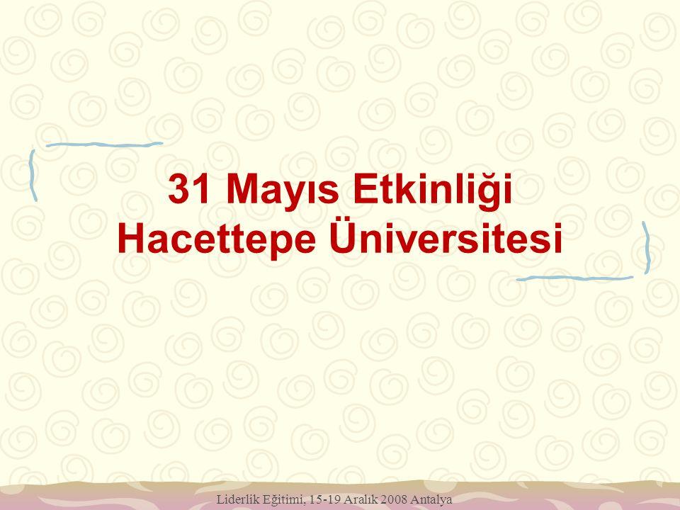 31 Mayıs Etkinliği Hacettepe Üniversitesi Liderlik Eğitimi, 15-19 Aralık 2008 Antalya