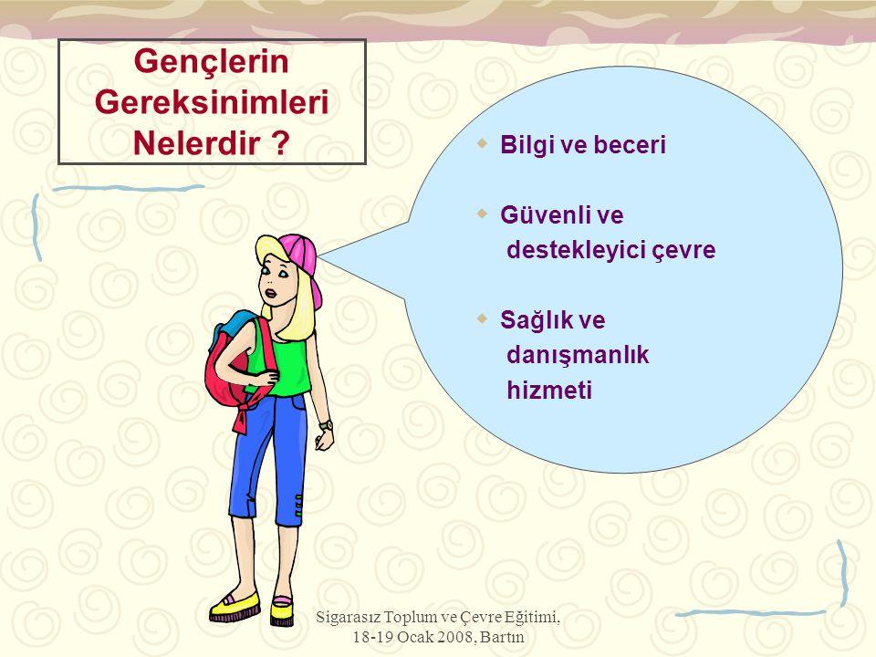 Sigarasız Toplum ve Çevre Eğitimi, 18-19 Ocak 2008, Bartın Gençlerin Gereksinimleri Nelerdir ?  Bilgi ve beceri  Güvenli ve destekleyici çevre  Sağ