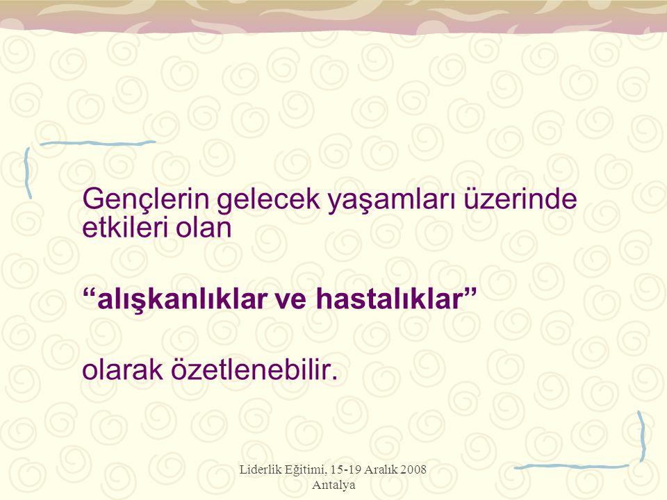 """Liderlik Eğitimi, 15-19 Aralık 2008 Antalya Gençlerin gelecek yaşamları üzerinde etkileri olan """"alışkanlıklar ve hastalıklar"""" olarak özetlenebilir."""