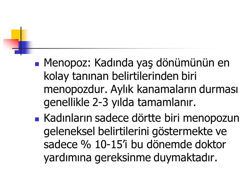 Menopoz: Kadında yaş dönümünün en kolay tanınan belirtilerinden biri menopozdur.