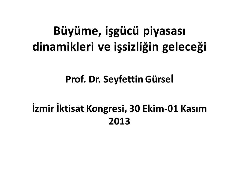 Büyüme, işgücü piyasası dinamikleri ve işsizliğin geleceği Prof. Dr. Seyfettin Gürse l İzmir İktisat Kongresi, 30 Ekim-01 Kasım 2013